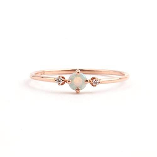 MOONRING Anillo de compromiso redondo con piedras preciosas de imitación diminutas de diamante sintético tono oro rosa