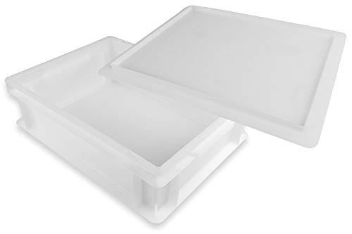 Gi.Metal Pizzaballen-Box Set mit 30 x 40 x 12 cm Größe - Stapelbox, Kunststoffbehälter für Pizzateig, Teigling-Box, 1x Pizzaballen-Box mit 1x Deckel