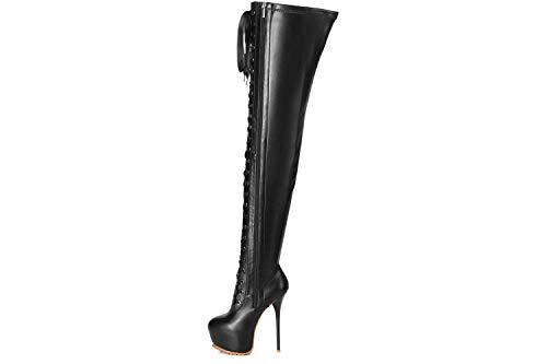 GIARO Stiefel in Übergrößen Schwarz Luisa Black Matte große Damenschuhe, Größe:42