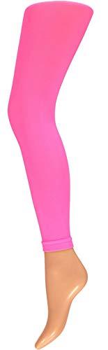 krautwear Damen Mädchen Leggins Leggings60 den Karneval Fasching Kostüm schwarz rot rosa blau (rosa-SM)