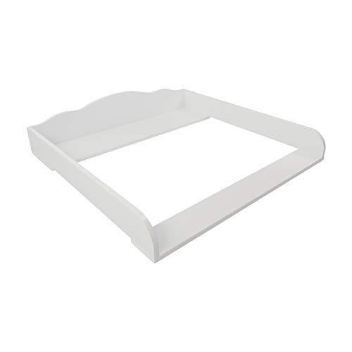 Puckdaddy Wickelaufsatz Max – 80x78x15 cm, Wickelauflage aus Holz in Weiß, hochwertiger Wickeltischaufsatz passend für IKEA Malm Kommoden, inkl. Montagematerial zur Wandbefestigung