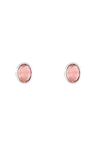 Córdoba Jewels   Pendientes en plata de ley 925 con piedra semipreciosa. Diseño Oval Frambuesa