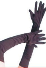Novelties Direct Gloves, Long Black Jersey Fabric