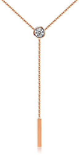 ZGYFJCH Co.,ltd Collar de Moda para Mujer, Collar de Gargantilla de Acero Inoxidable, Gargantilla de circonita cúbica de Color Rosa Dorado para joyería de Fiesta para Mujer