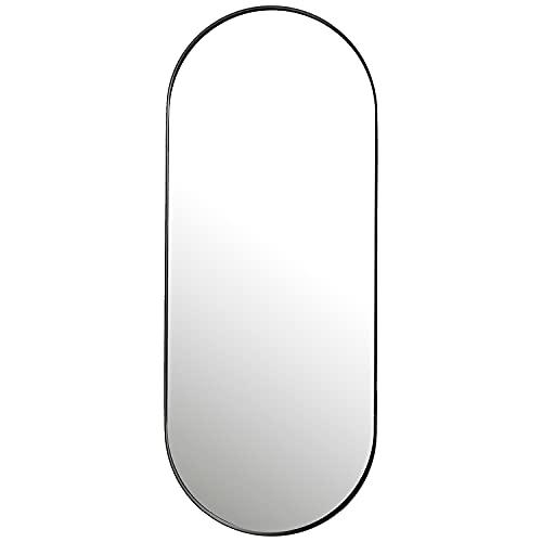Espejo ovalado de 100 x 40 cm, espejo de pared grande, espejo de cuerpo entero con marco de metal negro para salón, baño, pasillo y vestidor