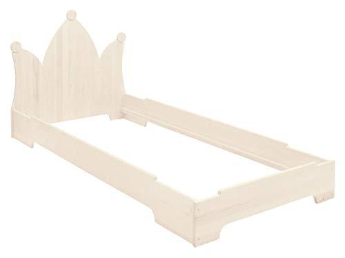 BioKinder Kai stapelbed stapelbed gastenbed met hoofdbord massief houten kroon grenen 90 x 200 cm wit geglazuurd