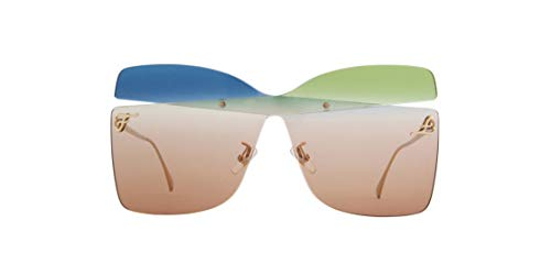 FENDI Gafas de Sol KARLIGRAPHY FF 0399/S GOLD/BLUE GREEN BROWN 99/1/145 mujer