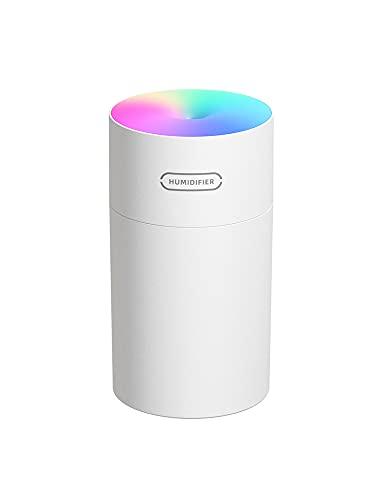 Umidificador Aromatizador De Ar USB, Umidificador De Ar De Mesa Portátil, Mini Humidificador Com Luz LED, Mini Umidificador De Ar Portátil Difusor Névoa Fria Para Escritório, Quarto (BRANCO)