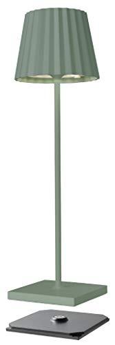 sompex Troll 2.0 - Lámpara LED para mesa de jardín, funciona con batería, aluminio, regulable, protección contra salpicaduras, incluye estación de carga, color verde