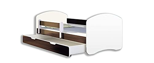 BDW Cama infantil con un cajón y colchón de madera wengué, 140 x 70 cm