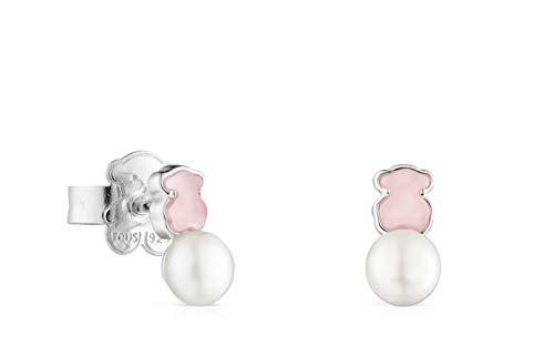 Pendientes Mini Color de Plata con Cuarcita rosa y Perla (915433690)