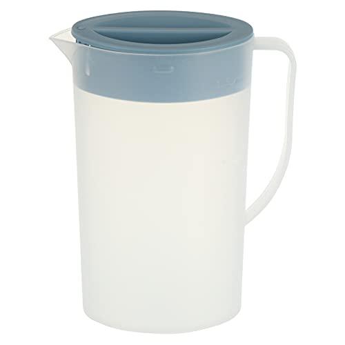 HEMOTON Jarra de Agua de Plástico Azul de Jarra de Agua Fría con Tapa Bebida de Jugo Jarra de Té Helado Botella Dispensadora de Agua de Gran Capacidad con Mango Tamaño S