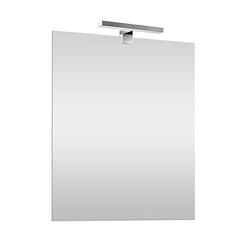 Inbagno Specchio con Lampada LED 50x60 cm Reversibile, specchiera a Filo Lucido, Lampada Cromo L.30 cm a Risparmio energetico