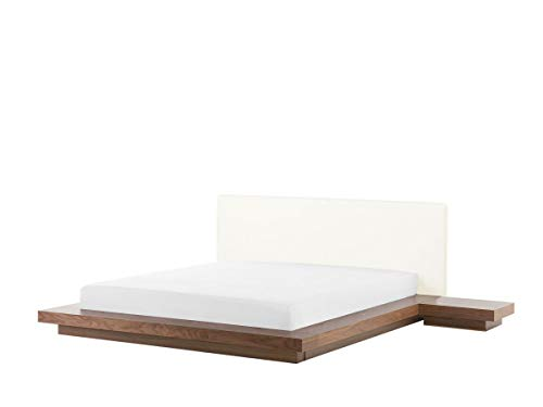 Designer Bett Japan Stil japanisches Holzbett Walnuss Farbe BRAUN flaches massives Futonbett mit Lattenrost / Lattenrahmen günstig 180x200 cm