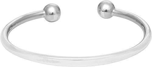 VVHN Silver Men's Women's .925 Sterling Silver Solid Identity Torque Adjustable Bangle Bracelet