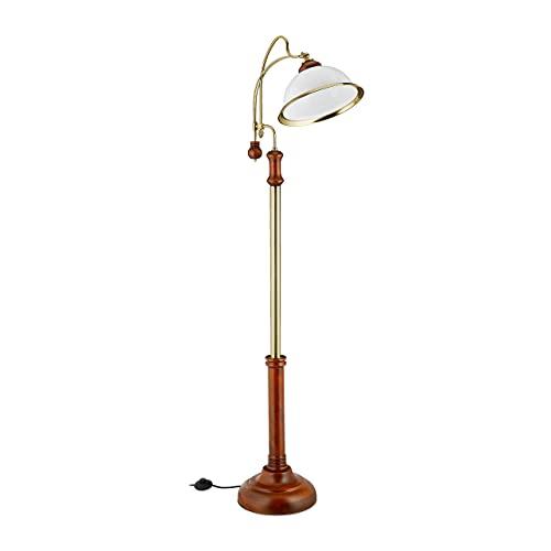 Relaxdays Stehlampe, Bogenleuchte im Jugendstil, Glasschirm, Holz, E27 Fassung, HxBxT: 166 x 40 x 36 cm, braun/gold