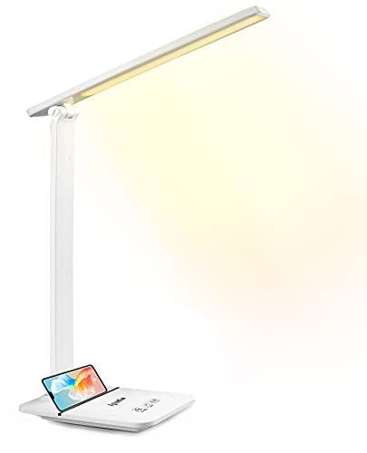 Desk Lamp, Eye-Caring LED Desk Lamp for Home Office, 14W Desk Light with Reading Mode, 3 Color Modes with 800 Lumens Stepless Dimming, Touch Control, USB Charging Port, 10min Auto Timer, Phone Stand