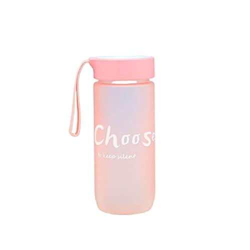 Jsmhh Botella Helada Simple con Mango Carta Transparente Botella de Ocio al Aire Libre Taza de Estudiante Lindo Copa práctica de la Taza Verde (Color : Pink)