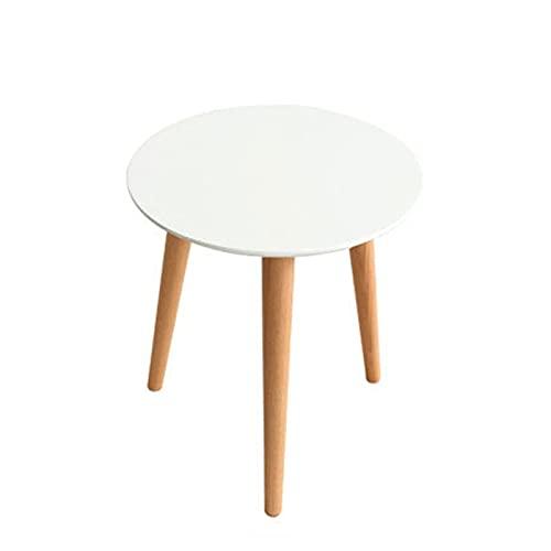 Renovierungshaus 45CM 70CM Runder Tisch Weißer Stehtisch Niedriger Tisch Geformter Massivholz Couchtisch Original Holzfarbe Sofa Buche Beistelltisch Verschachtelung Beistelltische aus Holz für die