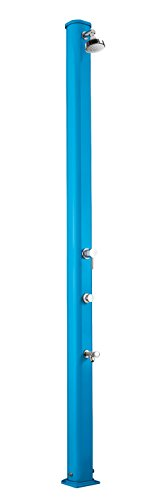 Doccia a riscaldamento solare Arkema A630/5012 Jolly S - Blu Doccia solare Design dritto totalmente in alluminio Trattamento anticorrosione Verniciata a polvere Serbatoio capacità 25 l. Altezza 229 cm Peso 12 kg Con miscelatore temporizzato e lavapiedi