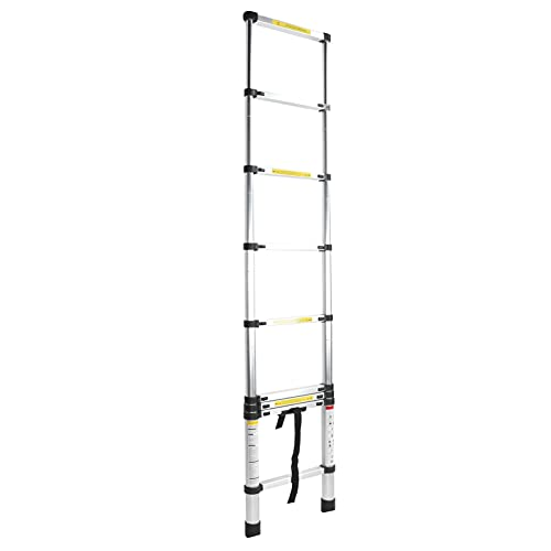 Escalera telescópica, capacidad de sujeción de 50 kg Escalera plegable Aleación de aluminio Portátil Práctica Escalera plegable conveniente y segura para tareas en interiores/exteriores