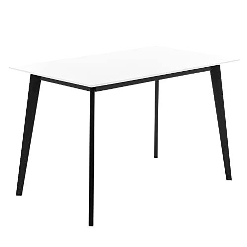 COMIFORT Mesa de Cocina/Escritorio Diseño Nordico - Patas de Madera de Haya. Mesa Alta para Salon Cocina Escritorio Ordenador Oficina de Estilo Moderno Rectangular y Acabado Lacado - Civetta Negro