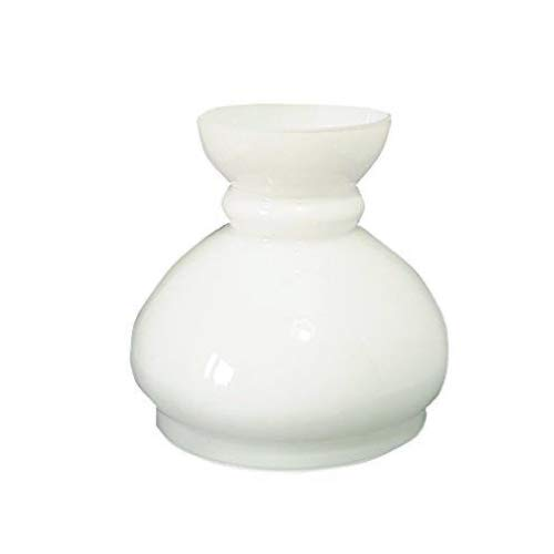 Glas Ersatz Öllampe Schornstein Haube Lampenschirm.  MITTELGROß WEIßE GLAS SCHORNSTEIN. Breite an der Basis: 14.5 cm Durchmesser, Höhe: 16 cm, Maximaler Durchmesser: 17 cm.