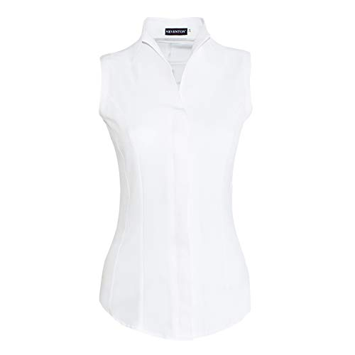 HEVENTON Damen Hemdbluse mit Kelchkragen Ärmellos tailliert bügelleicht 1209 Farbe Weiß, Größe 40