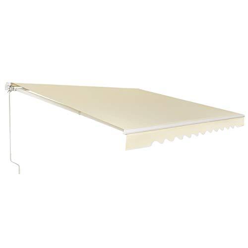 COSTWAY Markise mit kurbel, Balkonmarkise Sonnenschutz, Gelenkarmmarkise Sonnenmarkise Terrassenmarkise, Klemmmarkise für Balkon und Veranda (300x250cm, Beige)