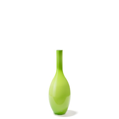 Leonardo vaas Beauty, buikige decoratieve vaas, handgemaakte unicaat, bloemenvaas van groen geverfd glas, 39 cm, 058712