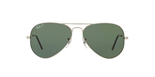 Ray-Ban RB3025, Gafas de Sol Unisex Adulto, Plateado (frame: Silver lenses: Green polarized 003/58), Large