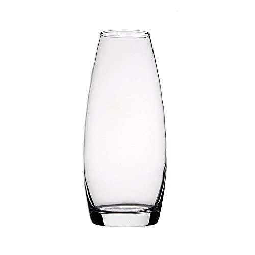 Unishop Jarrón de Flores de Cristal, Florero Abombado de Vidrio de 25cm de Alto, Elegante y Sofisticado