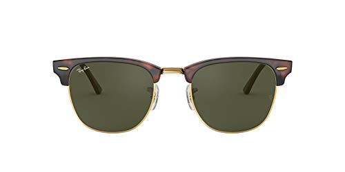 Ray-Ban RB3016 Clubmaster Square Sunglasses, Mock Tortoise Gold/Green, 49 mm