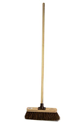 Newman & Cole Outdoor Sweeping Brush Stiff Yard Patio Garden Broom Natural Bassine Bristle Fitted with...