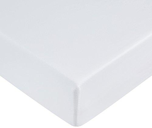 AmazonBasics Spannbetttuch, Mikrofaser, strahlend weiß, 140 x 200 x 30 cm