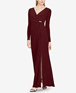RALPH LAUREN Womens Burgundy Shirred Jersey Gown Long Sleeve V Neck Full-Length Evening Dress US Size: 8