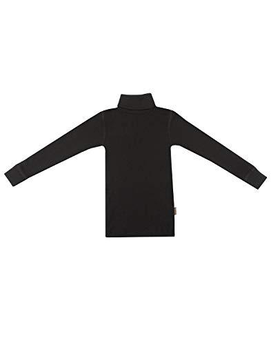 Dilling Rollkragen Shirt für Kinder aus 100% Bio Merinowolle Schwarz 110-116