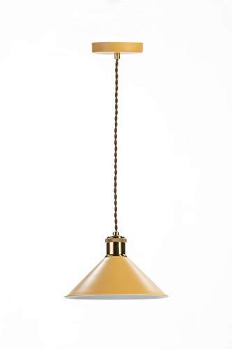 Lámpara techo metálica mostaza acabado rugoso. Embellecedor metálico vintage con pendel textil vintage. Diámetro 22cm altura 15cm. Casquillo E-27. Admite bombilla led. Uso interior IP20