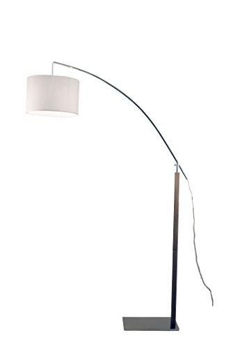 Aluminor RAINBOW 7 CH lampadaire arc E27, Métal/Bois, Gris