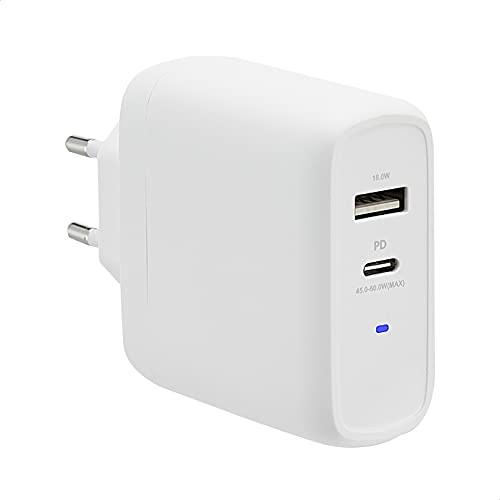 Amazon Basics - Cargador de pared de 63 W con tecnología GaN para portátiles, tabletas y teléfonos, con 2 puertos (1 USB-C de 45 W + 1 USB-A de 18 W) y protocolo de carga Power Delivery, color blanco