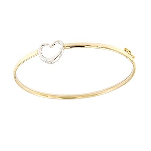 Lucchetta Schmuck - Damen-armband aus 9 Karat Gold (19 cm) mit Herz, 375 Weißgold und Gelbgold Armreif für Mädchen