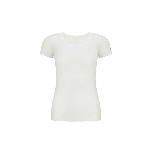 Super.natural Tee-shirt Manches Courtes pour Femmes, Laine mérinos, W SCARLETT RIB SS, Taille : S, Couleur : Blanc