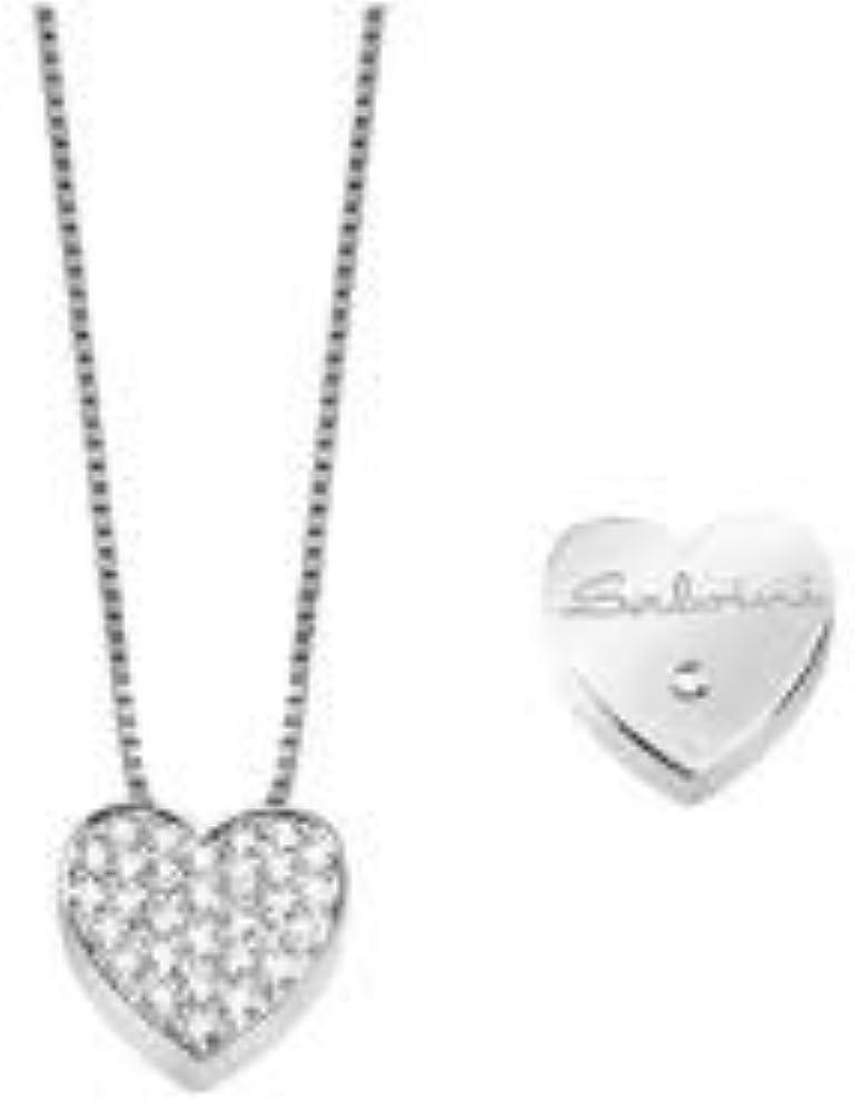 Salvini,collana per donna,collana in oro bianco con pendente a forma di cuore con diamanti taglio brillante ct 20067543