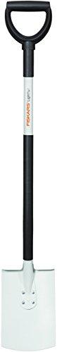 Fiskars Gärtnerspaten für weiche, lockere Böden, Rund, Länge: 105 cm, Hochwertiges Stahl-Blatt/Aluminium-Stiel, Schwarz/Weiß, Light, 1019601