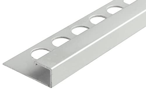 Fuchs Design Perfil cuadrado para azulejos (1 m, 12,5 mm, aluminio anodizado), color plateado mate