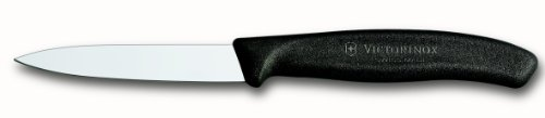 Victorinox 6.7603 3.25 Inch Swiss Classic Paring Knife with Straight Edge, Spear Point, Black, 3.25""