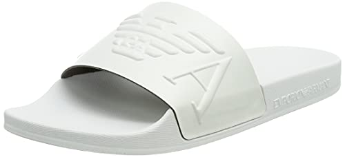Emporio Armani Damen Swimwear Slipper Monogram Slide Sandal, White+White+White, 34 EU