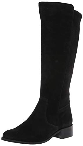 Driver Club USA Womens Leather Luxury High Top Riding Boot, Black Suede, 5 M US