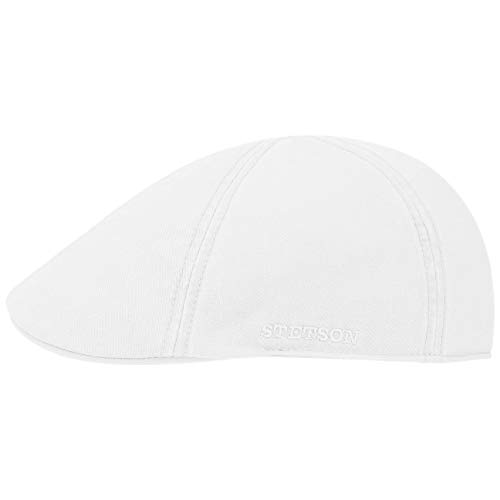 Stetson Texas Cotton Flatcap mit UV Schutz 40+ - Schirmmütze aus Baumwolle - Unifarbene Mütze Frühjahr/Sommer weiß XL (60-61 cm)