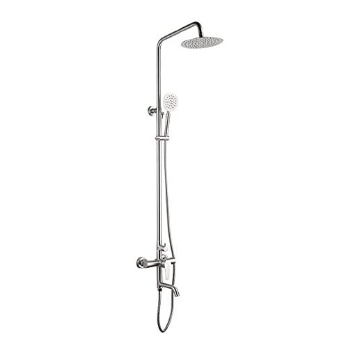 WGFGXQ Chrom-Duschsystem, Duschmischersystem mit Verstellbarer Duschschiene, an der Wand montierte Duschsäule mit Regen-Kopfbrause, Badewannenhahn und Duschkopffilter